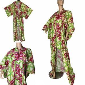 VTG Kimono Robe Tropical Hawaiian Floral Print S/M